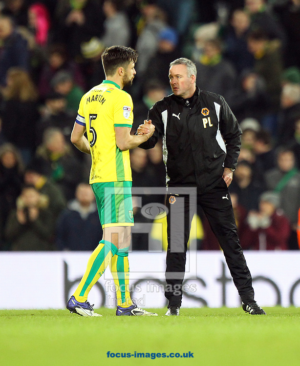 Russell Martin of Norwich shakes hands with his old boss, Wolverhampton Wanderers Manager Paul Lambert, at the end of the Sky Bet Championship match at Carrow Road, Norwich<br /> Picture by Paul Chesterton/Focus Images Ltd +44 7904 640267<br /> 21/01/2017
