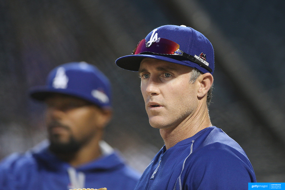Chase Utley, Los Angeles Dodgers, warming up with the team before the New York Mets Vs Los Angeles Dodgers, game three of the NL Division Series at Citi Field, Queens, New York. USA. 12th October 2015. Photo Tim Clayton for The Players Tribune