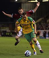 Photo: Paul Thomas.<br /> Burnley v Norwich City. Coca Cola Championship. 23/10/2007.<br /> <br /> Darren Huckerby (Yellow) of Norwich goes past Chris McCann.