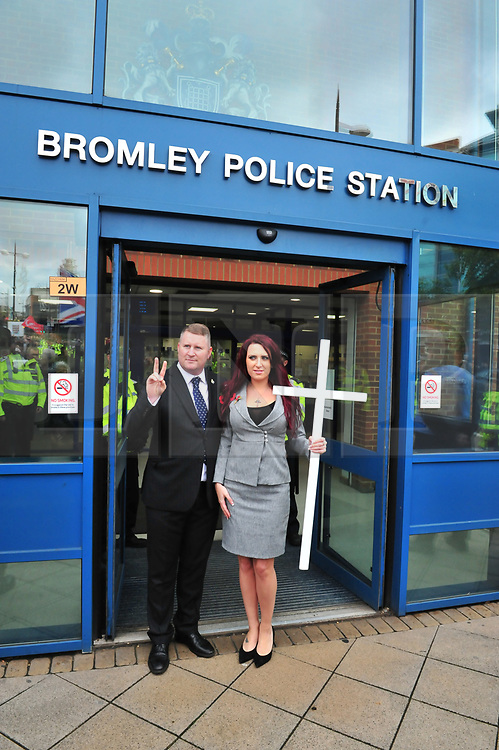 &copy; Licensed to London News Pictures.04/11/2017.<br /> BROMLEY, UK.<br /> Britain First leaders coming out after signing in on bail.<br /> Britain First hold a Persecuted Patriots Rally outside Bromley Police Station, Bromley South.Party Leader Paul Golding and his deputy Jayda Fransen have to sign on bail every Saturday 2pm at Bromley Police station.<br /> Photo credit: Grant Falvey/LNP
