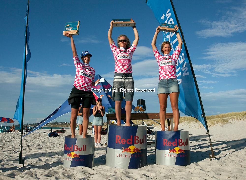 10th December 2017, Leighton Beach, Perth, Australia; Red Bull Lighthouse to Leighton kiteboard race; Womens winners left to right 3rd Fabienne Bosiger  (AUS), 1st Steph Bridge (UK), 2nd Natalie Flintrop-Clarke (AUS)