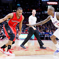 27 December 2014: Los Angeles Clippers guard Jamal Crawford (11) defends on Toronto Raptors guard Kyle Lowry (7) during the Toronto Raptors 110-98 victory over the Los Angeles Clippers, at the Staples Center, Los Angeles, California, USA.
