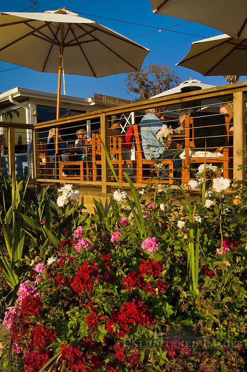 Outdoor dining at The Beachcomber Cafe, Crystal Cove State Park Historic District, Corona del Mar, Newport Beach, California