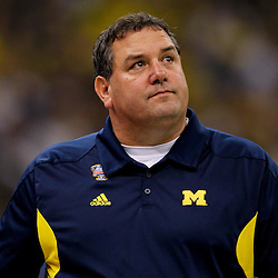 January 3, 2012; New Orleans, LA, USA; Michigan Wolverines head coach Brady Hoke against the Virginia Tech Hokies during the first quarter of the Sugar Bowl at the Mercedes-Benz Superdome.  Mandatory Credit: Derick E. Hingle-US PRESSWIRE