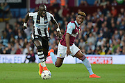 Newcastle United midfielder Mohamed Diame (15) on the attack 0-1 during the EFL Sky Bet Championship match between Aston Villa and Newcastle United at Villa Park, Birmingham, England on 24 September 2016. Photo by Alan Franklin.