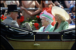 HM The Queen arrives for Day 2 of Royal Ascot with The Duchess of Cornwall and Prince Charles 2013<br /> Ascot, United Kingdom<br /> Wednesday, 19th June 2013<br /> Picture by Andrew Parsons / i-Images