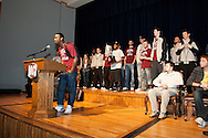 March 5, 2012: OC Men's Basketball Team is recognized in chapel for their 2012 NAIA Sooner Athletic Conference championship.