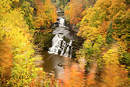 Corra Linn waterfall at Falls of Clyde in late autumn, Lanarkshire, Scotland, UK