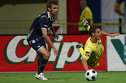 Mirko Hrgovic of Dinamo vs Xavier Junior Wilson  (10) of Domzale at 1st football game of 2nd Qualifying Round for UEFA Champions league between NK Domzale vs HNK Dinamo Zagreb, on July 30, 2008, in Domzale, Slovenia. Dinamo won 3:0. (Photo by Vid Ponikvar / Sportal Images)