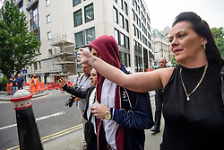 © Licensed to London News Pictures. 22/08/2017. London, UK. Cyclist Charlie Alliston (red hood) arrives at The Old Bailey surrounded by friends, where he faces manslaughter charges.  Alliston was allegedly going at 18mph when he hit and killed pedestrian Kim Briggs in London in February 2016. He was riding a track bike which had no front brakes .Photo credit: Ben Cawthra/LNP