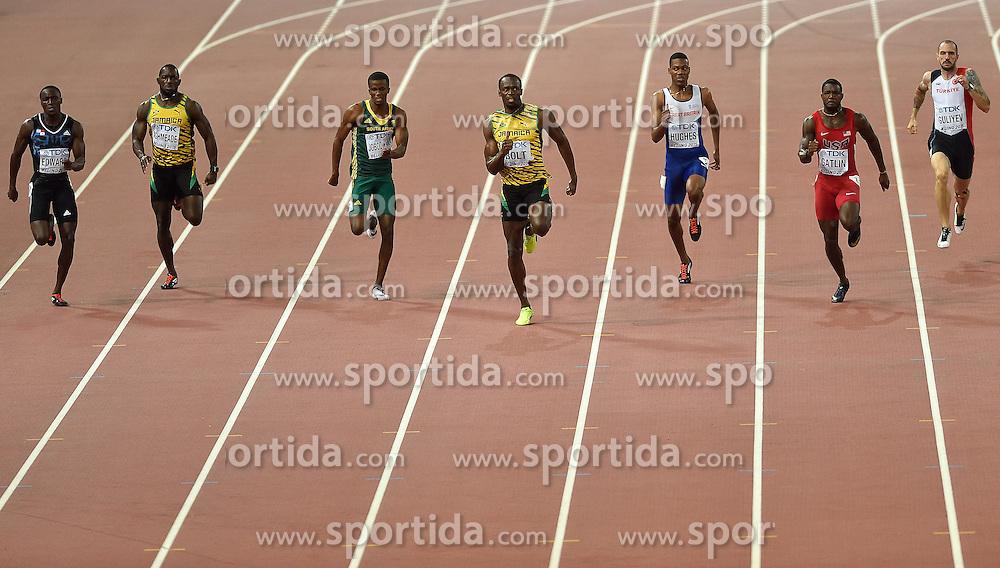 27-08-2015 CHN: IAAF World Championships Athletics day 6, Beijing<br /> 200M: Ramil GuliyevTUR, Justin Gatlin USA, Zharnel Hughes GBR, Usain Bolt JAM, Anaso Jobodwana RSA, Nickel Ashmeade JAM, Alonso Edward PAN. Usain Bolt won with 19.55