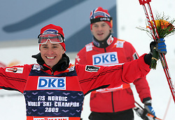 Winner and the world champion Ola Vigen Hattestad and second placed Johan Kjoelstad of Norway  at Men`s Sprint Free Finals Cross-country race at  FIS Nordic World Ski Championships Liberec 2008, on February 24, 2009, Vestec, Liberec, Czech Republic. (Photo by Vid Ponikvar / Sportida)