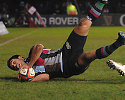 Twickenham, GREAT BRITAIN,  Quins, De Wet BARRY, touches down in the second half, during the EDF. Energy Cup. between, Harlequins vs Ospreys at Twickenham Stoop.  02/12/2007 [Mandatory Credit Peter Spurrier/Intersport Images].