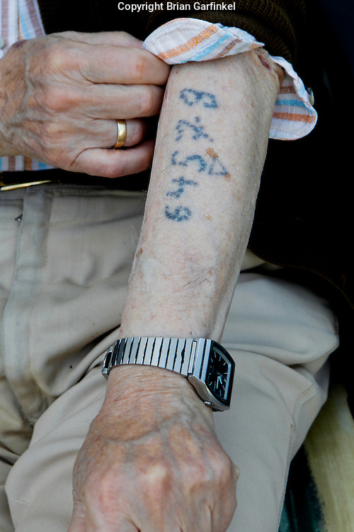 Palo's number tattooed on his left arm in Auschwitz, photographed at Peter's house in Zilina, Slovakia on Thursday, July 7th 2011.  (Photo by Brian Garfinkel)