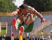 Norfolk State junior Rashad Cannon finishes third in the Men's Long Jump with a mark of 7.69 meters at the 2011 MEAC Track and Field Championship held at North Carolina A&T in Greensboro, North Carolina.  (Photo by Mark W. Sutton)