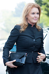 © London News Pictures. 21/04/2014 . Davington, UK. SARAH FERGUSON. The Funeral of Peaches Geldof. at St Mary Magdalene and St Lawrence Church in the village of Davington, Kent. Peaches Geldof, daughter of Irish singer-songwriter and political activist Bob Geldof, died on Apr. 7 at her home in southeastern England. Her death still remains unexplained.  Photo credit : Ben Cawthra/LNP