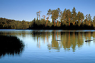 Morning light on trees and forest reflected in blue water of Manzanita Lake at sunrise, Lassen Volcanic National Park, California
