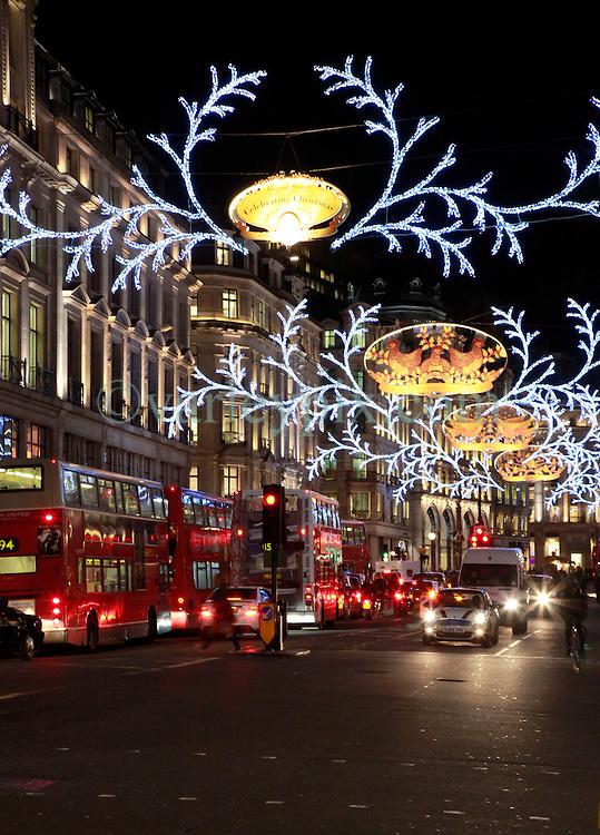 21 December 2012. London, Great Britain. <br /> Christmas lights on Regent Street in central London. <br /> Photo; Charlie Varley