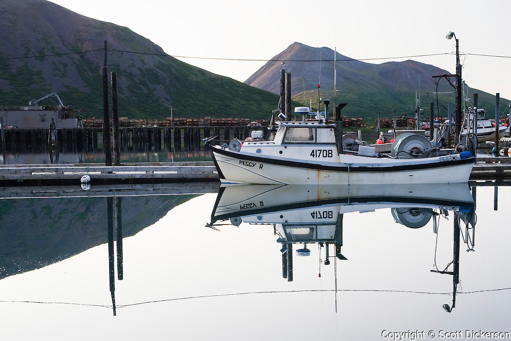 A commercial salmon gillnetter vessel moored in the King Cove harbor, King Cove, Alaska Peninsula, Alaska.