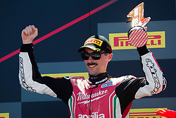 July 7, 2018 - Misano, RN, Italy - Eugene Laverty of Milwaukee Aprilia celebrate the second place of race 1 of the Motul FIM Superbike Championship, Riviera di Rimini Round, at Misano World Circuit ''Marco Simoncelli'', on July 07, 2018 in Misano, Italy  (Credit Image: © Danilo Di Giovanni/NurPhoto via ZUMA Press)