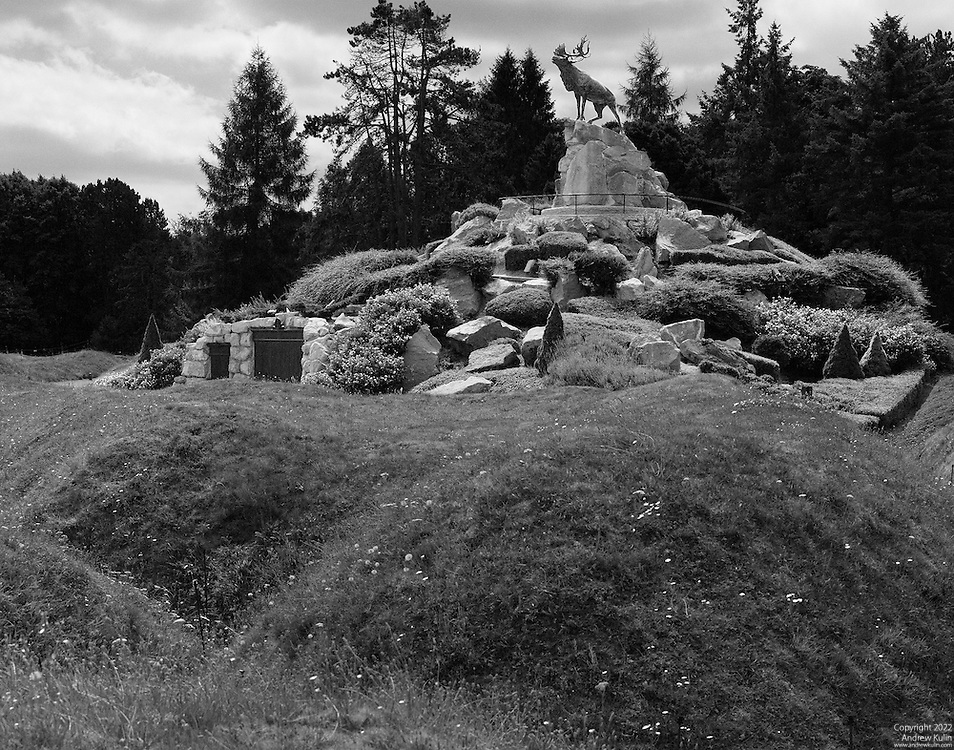 Black and white image of the Newfoundland Memorial located at Beaumont Hamel on the Somme in France.