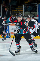 KELOWNA, CANADA - OCTOBER 19: Tyson Baillie #24 of the Kelowna Rockets skates up the ice against the Prince George Cougars on October 19, 2013 at Prospera Place in Kelowna, British Columbia, Canada.   (Photo by Marissa Baecker/Shoot the Breeze)  ***  Local Caption  ***