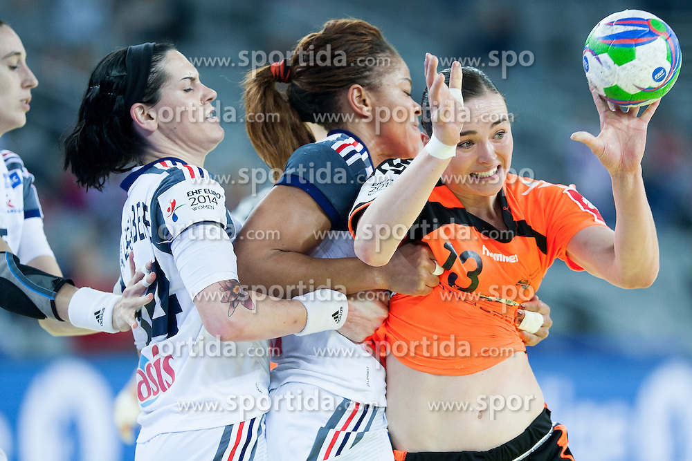 Yvette Broch #13 of Netherlands at handball match between Netherlands and France at 11th EHF European Women's Handball Championship Hungary-Croatia 2014, on December 17, 2014 in Arena Zagreb, Zagreb, Croatia. Photo By Urban Urbanc / Sportida