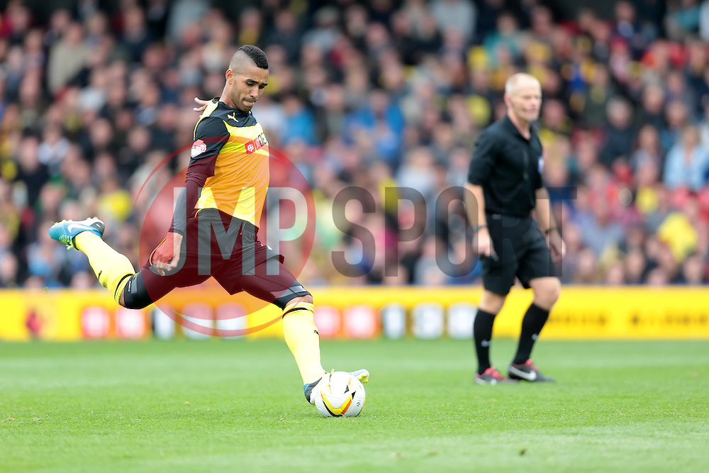 Watford's Lewis McGugan takes a free kick at goal  - Photo mandatory by-line: Nigel Pitts-Drake/JMP - Tel: Mobile: 07966 386802 14/09/2013 - SPORT - FOOTBALL -  Vicarage Road - Hertfordshire - Watford V Charlton Athletic - Sky Bet Championship
