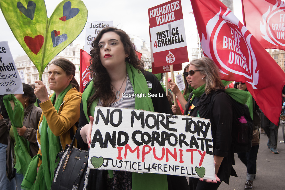 Hundreds of people marched down Whitehall in central London on Saturday to demand justice for the 72 victims of the Grenfell Tower fire.<br />