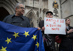 © Licensed to London News Pictures. 13/10/2016. London, UK. Anti-EU referendum result protestors stand out side the High Court as a legal challenge is launched, after the EU referendum result, to force the government to seek Parliamentary approval before Brexit negotiations begin. Photo credit: Peter Macdiarmid/LNP