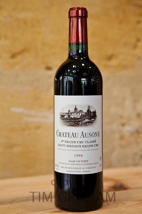 Chateau Ausone fine wine  in Vignobles et Chateaux wine merchant shop in St Emilion in Bordeaux wine region of France