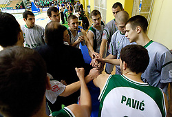 Players of Krka during basketball match between KK Krka (SLO) and KK Zagreb (CRO) in 2nd Round of Group E of EuroChallenge, on November 23, 2010 in Arena Leona Stuklja, Novo mesto, Slovenia. (Photo By Vid Ponikvar / Sportida.com)
