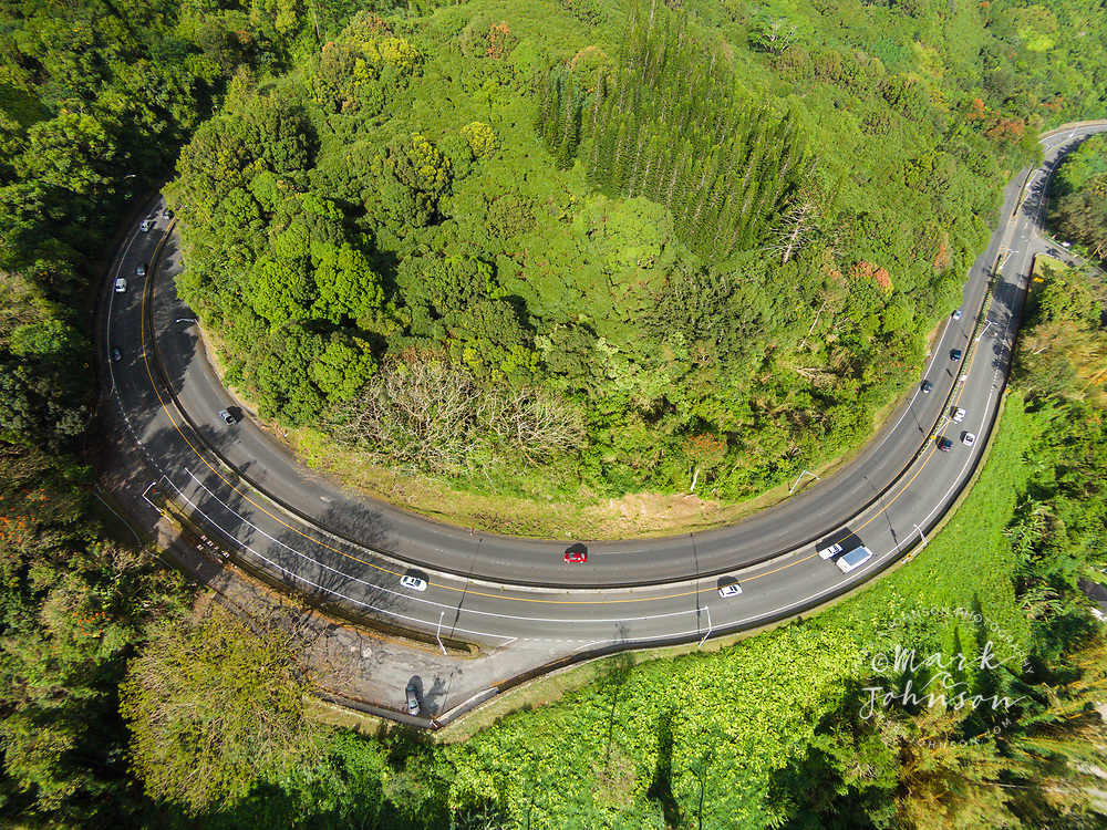 Aerial photograph looking straight down at the Pali Highway hairpin turn, Koolau Mountains, Oahu, Hawaii