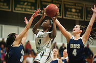 Rice's Johann Diambou (4) leaps past Burlington's Fiona McSweeney (4) and Hein Thach (3) for a lay up during the girls basketball game between the Burlington Sea Horses and the Rice Green knights at Rice Memorial high school on Thursday night February 18, 2016 in South Burlington. (BRIAN JENKINS/for the FREE PRESS)