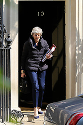 © Licensed to London News Pictures. 01/05/2019. London, UK. British Prime Minister Theresa May departs from Number 10 Downing Street to attend Prime Minister's Questions (PMQs) in the House of Commons. Photo credit: Dinendra Haria/LNP