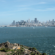 The view of San Francisco city skyline from Alcatraz Island.