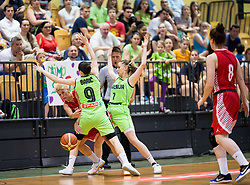 Lana Packovski of Croatia vs Nika Baric and Rebeka Abramovic of Slovenia during friendly basketball match between Women National teams of Slovenia and Croatia before FIBA Eurobasket Women 2017 in Prague, on June 1, 2017 in Celje, Slovenia. Photo by Vid Ponikvar / Sportida