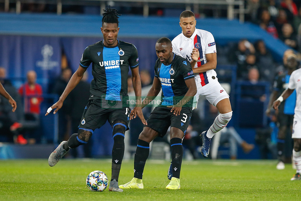 November 6, 2019, Paris, France: Club's Simon Deli, Club's Eder Balanta and PSG's Kylian Mbappe fight for the ball during the match between French club Paris Saint-Germain Football Club and Belgian soccer team Club Brugge KV, Wednesday 06 November 2019 in Paris, France, on day four in Group A, in the first round of the UEFA Champions League. (Credit Image: © Bruno Fahy/Belga via ZUMA Press)