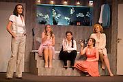 Theatre Rive Gauche. Paris, France. 24 Juin 2009..De gauche a droite: Caroline Bourg, Lilly-Fleur Pointeaux, Fabienne Mahe, Valentine Feau et Katia Tchenko .La Salle de Bain, une comedie de Astrid Veillon..Mise en scene de Jean-Pierre Dravel et Olivier Mace.