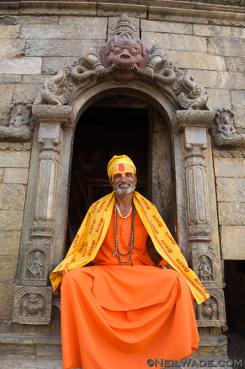 A Hindu Sadu, or holy man, poses at Pashupatinath, outside Kathmandu.