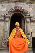 A Hindu Sadu, or holy man, poses at Pashupatinath, outside Kathmandu.