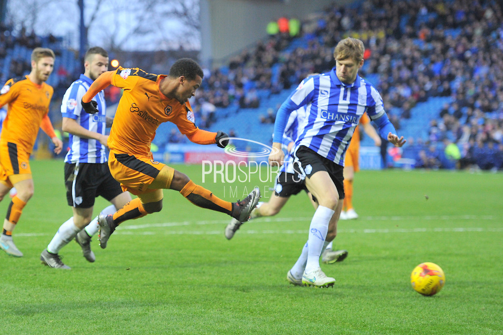 Wolverhampton Wanderers midfielder Nathan Byrne kicks at goal  during the Sky Bet Championship match between Sheffield Wednesday and Wolverhampton Wanderers at Hillsborough, Sheffield, England on 20 December 2015. Photo by Ian Lyall.