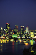 Pittsburgh, PA, Skyline, Night Lights, Three Rivers Park, Fountain, Ohio River, from West End