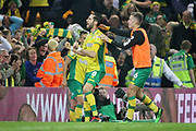 Norwich City midfielder Mario Vrancic (8)  celebrates his late equaliser during the EFL Sky Bet Championship match between Norwich City and Sheffield Wednesday at Carrow Road, Norwich, England on 19 April 2019.