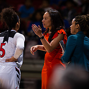 09 November 2018: San Diego State Aztecs head coach Stacie Terry talks with guard Te'a Adams (5) during a timeout in the second quarter. The Aztecs opened up it's regular season schedule with a 58-57 win over Hawaii Friday at Viejas Arena.