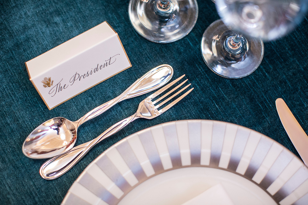 President Barack Obama's place setting is marked by a place card ahead of the Inaugural luncheon in Statuary Hall in the U.S. Capitol on Monday, January 21, 2013 in Washington, DC.