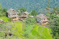 Nepal. Vallee de l Arun. Region Est du Nepal. Village Chetri de Num. // Nepal. Arun valley, East Nepal.  Num, Chetri ethnic group village.