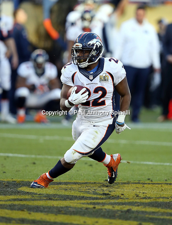 Denver Broncos running back C.J. Anderson (22) runs for a gain of 34 yards and a first down at the Carolina Panthers 26 yard line in the second quarter during the NFL Super Bowl 50 football game against the Carolina Panthers on Sunday, Feb. 7, 2016 in Santa Clara, Calif. The Broncos won the game 24-10. (©Paul Anthony Spinelli)