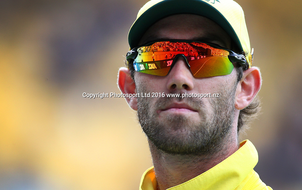 Glenn Maxwell in the field. New Zealand Black Caps v Australia, 2nd match of the Chappell-Hadlee ODI Cricket Series. Westpac Stadium, Wellington, New Zealand. Saturday 6th February 2016. Copyright Photo.: Grant Down / www.photosport.nz