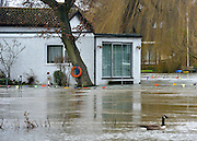 © Licensed to London News Pictures. 29/12/2012. Shepperton, UK A house on Pharaoh's Island, Surrey, is surrounded by floodwater. Flooding along the River Thames today 29th December 2012. Forecasters say the UK can expect heavy rain and winds the coming days. Photo credit : Stephen Simpson/LNP